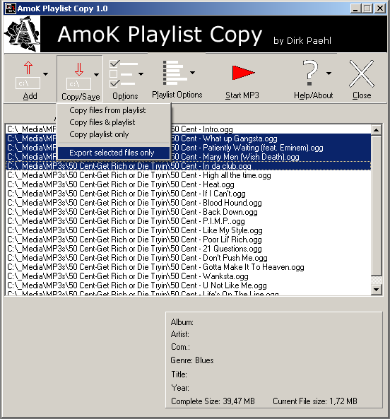 AmoK Playlist Copy 2.06 main scrennshot