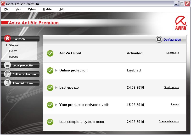 Avira AntiVir Premium 10.2.0.728 main scrennshot