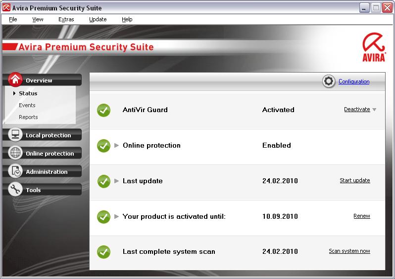 Avira Premium Security Suite 10.0.0.621 main scrennshot