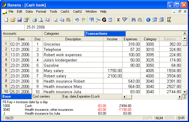 banana cashbook screenshots