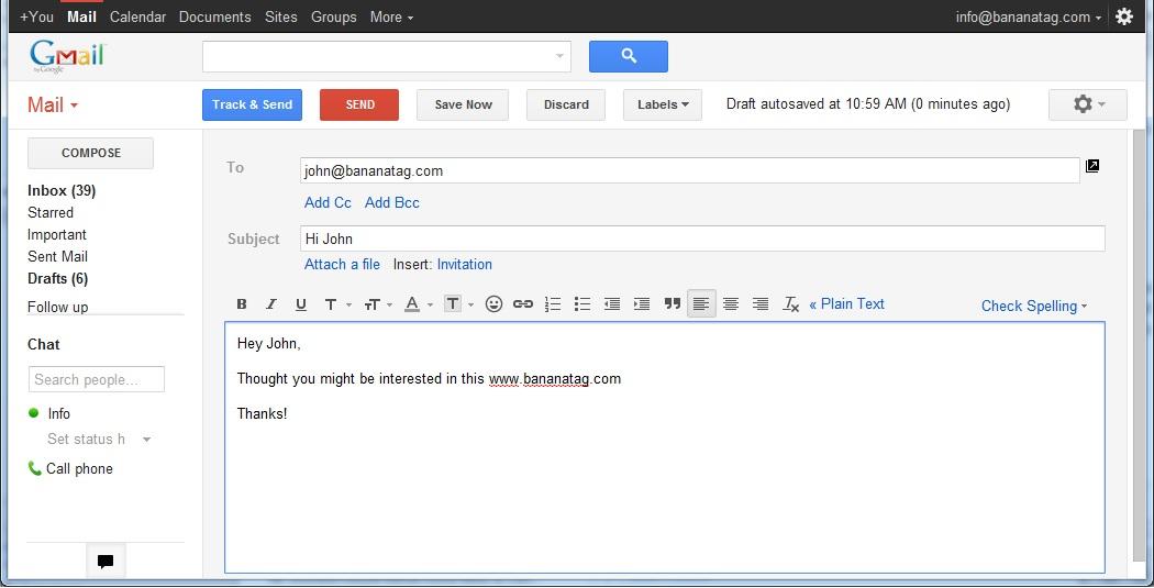 Bananatag for Gmail Chrome Extension screenshots - Windows 7