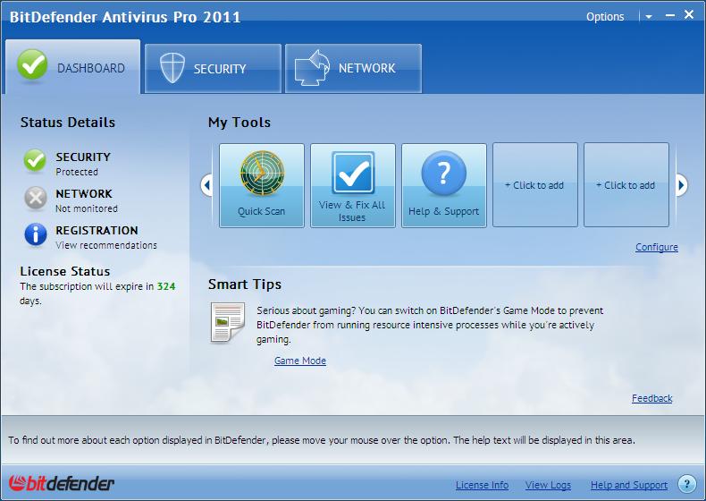 BitDefender Antivirus Pro 2011 14.0.29 main scrennshot