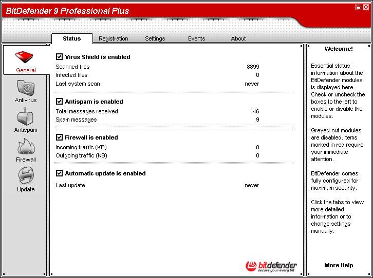 BitDefender Professional Plus 9 main scrennshot