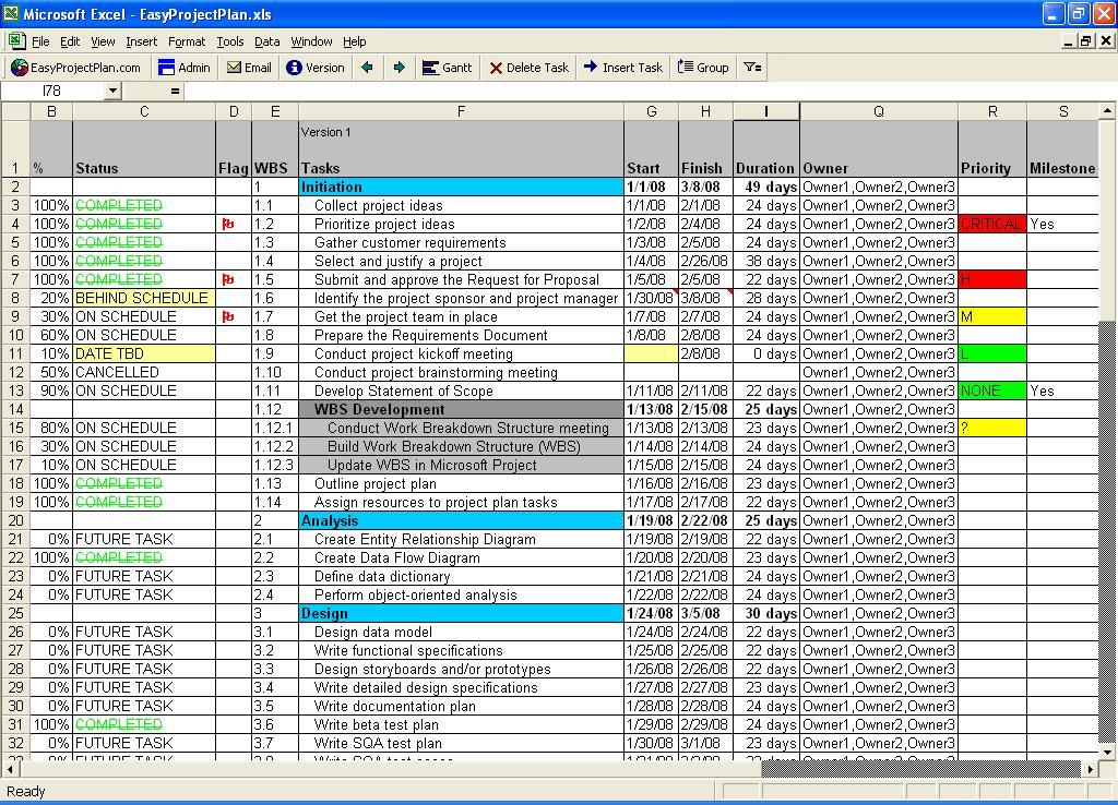 Easyprojectplan Excel Gantt Chart Screenshots Windows 7 Download