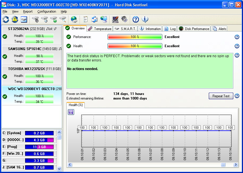 Hard Disk Sentinel 5.01.8557 main scrennshot