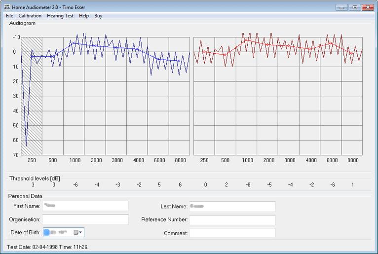 Home Audiometer 2.1 main scrennshot