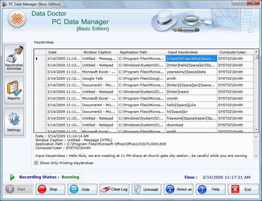 home keylogger 5 0 1 5 screenshot home keylogger software records all ...