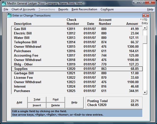 Medlin General Ledger screenshots - Windows 7 download ...