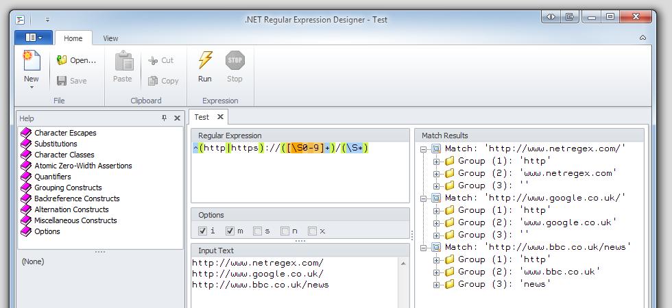 .NET Regular Expression Designer 2.0.5920 main scrennshot