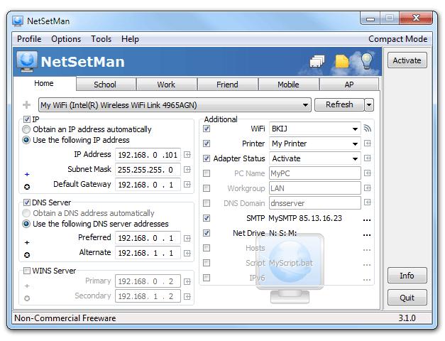 NetSetMan 4.4.0 main scrennshot