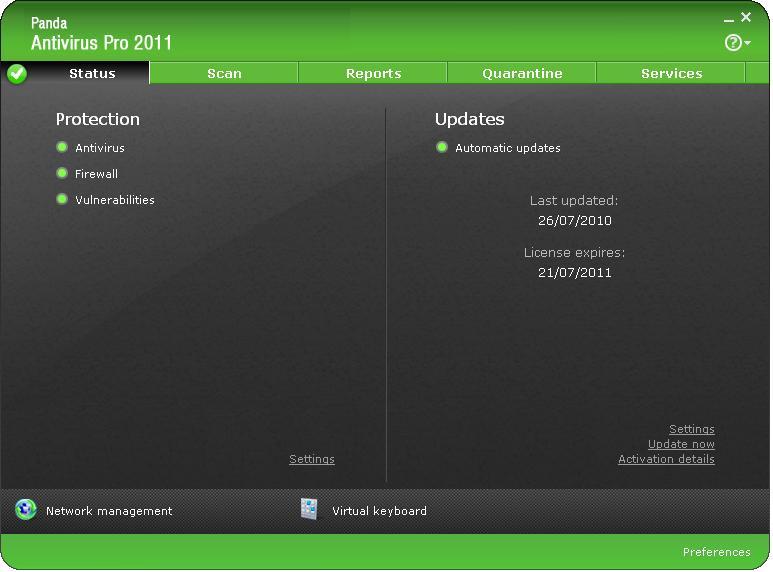 Panda Antivirus Pro 2011 10.00.00 main scrennshot