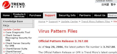 Trend Micro Virus Pattern File 13.507.00 main scrennshot