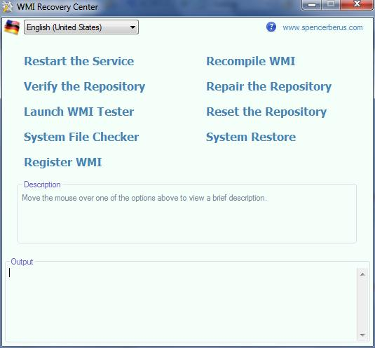 WMI Recovery Center 1.0 main scrennshot