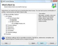 ABF Outlook Backup 3.21 screenshot. Click to enlarge!
