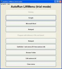 AutoRun LWMenu 1.3.2 screenshot. Click to enlarge!