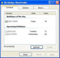 Birthday Reminder 1.05 screenshot. Click to enlarge!