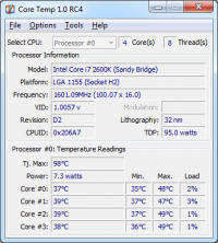 Core Temp 1.4.1.5 screenshot. Click to enlarge!