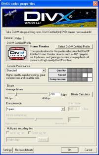 DivX Player (with DivX Codec) for 2K/XP 5.2.1 screenshot. Click to enlarge!