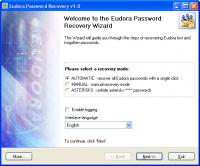 Eudora Password Recovery 1.6.4 screenshot. Click to enlarge!