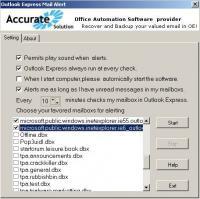 Outlook Express Mail Alert 2.1 screenshot. Click to enlarge!