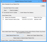 Portable Restore Point Creator 6.2.2 screenshot. Click to enlarge!