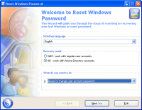 Reset Windows Password 7.1.0 screenshot. Click to enlarge!