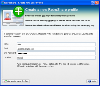 RetroShare 0.6.2.733b1143 screenshot. Click to enlarge!