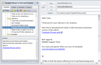 Template Phrases for Microsoft Outlook 5.0.36.521 screenshot. Click to enlarge!