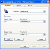 Universal Converter 1.25 screenshot. Click to enlarge!