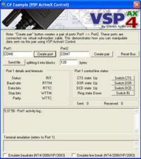 Virtual Serial Port ActiveX 4.2 screenshot. Click to enlarge!