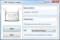 WiFi HotSpot Creator 1.2 screenshot. Click to enlarge!