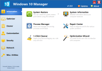 Windows 10 Manager 2.0.8 screenshot. Click to enlarge!