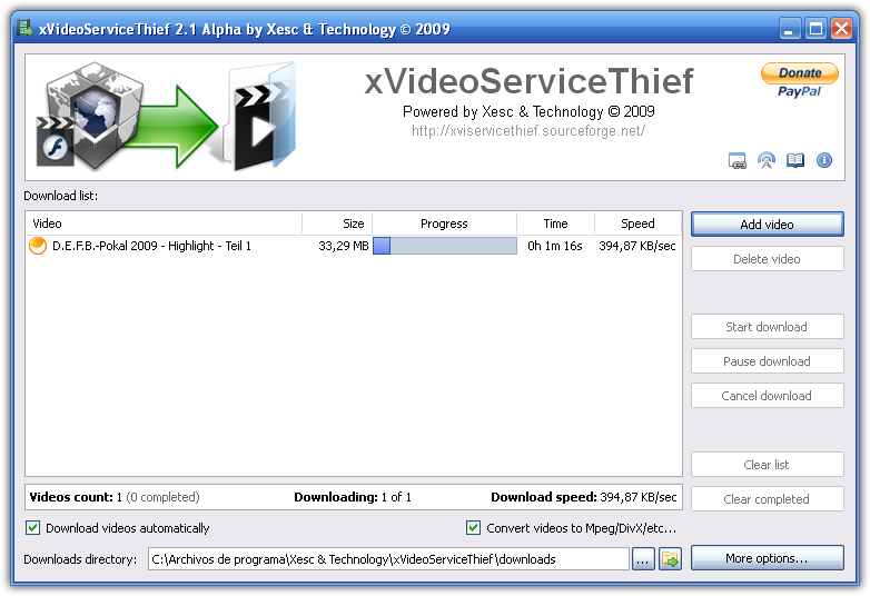 xVideoServiceThief 2.5 main scrennshot